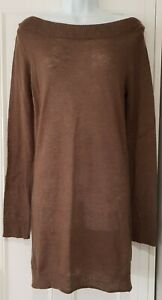 Womens-Toast-Brown-Boat-Neck-Fine-Knit-Long-Sleeve-Wool-Long-Tunic-Jumper-10-12