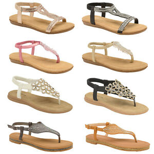 Womens Dunlop Diamante Sandals Ladies