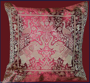 Red-Silk-Brocade-Elephant-Peacock-Pillow-Cover-from-India
