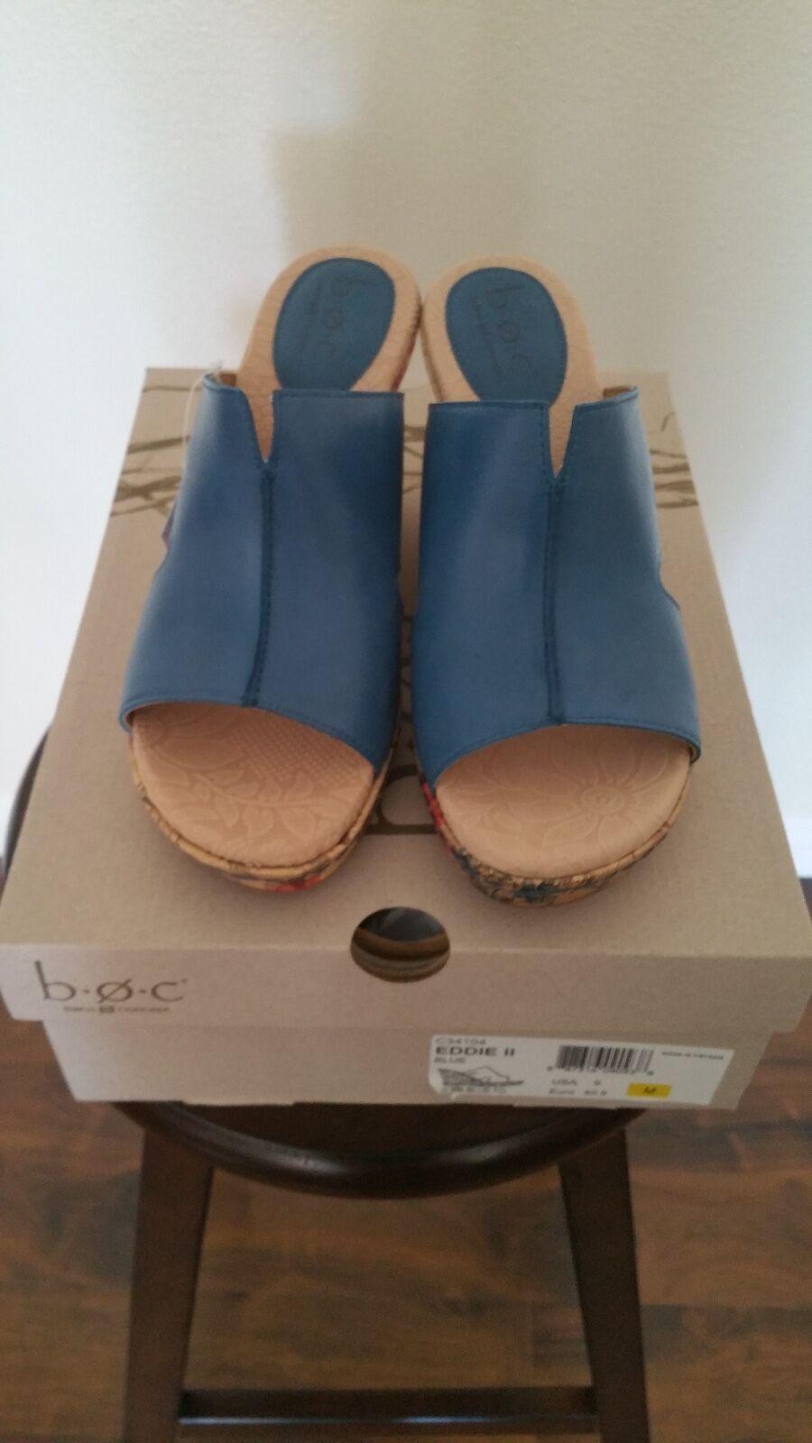 B.O.C. Eddie II Mujer Azul Sandalia de de de cuña de cuero Talla 9  despacho de tienda