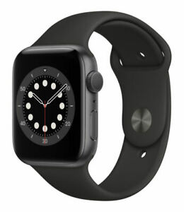 Apple Watch Series 6 44mm Space Gray Aluminum Case with Black Sport Band - Regular (GPS) (M00H3LL/A)