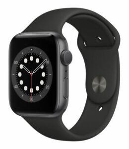 Apple Watch Series 6 44mm Space Grau Aluminiumgehäuse mit Schwarz Sportarmband - Regular (GPS) (M00H3FD/A)