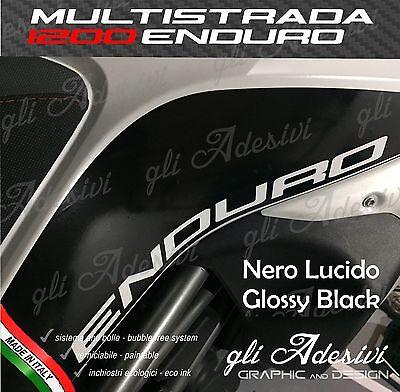 2 Stickers Ducati Multistrada 1200 Enduro Side Tank Black Gloss Gloss