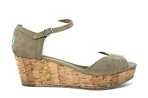 TOMS Womens Taupe Brown Suede Leather