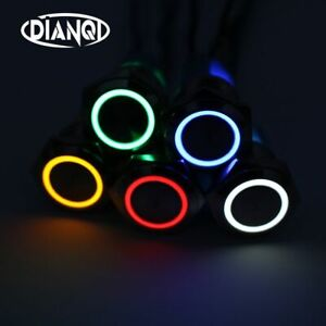 Metal-Annular-Push-Button-Switch-Ring-LED-Momentary-Latching-Waterproof-Car-16mm