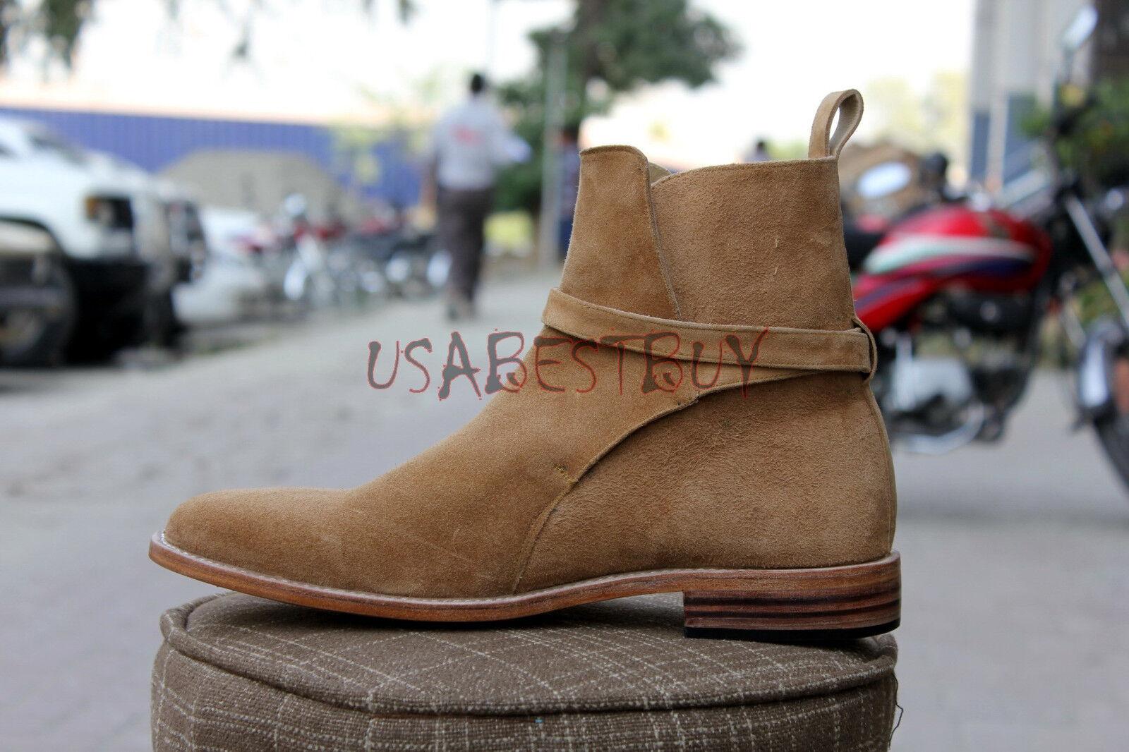 New Handmade Uomo Latest Jodhpur Pelle Suede Ankle High Stivali with Pelle Jodhpur Sole 0be8e3