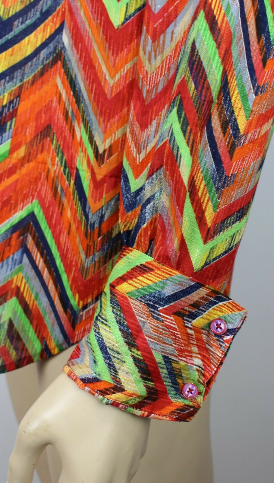 VINTAGE Da Uomo 60s 70s 70s 70s stile ARCOBALENO DISCOTECA PSICHEDELICHE Stag Festival SLIM FIT shirt M ee5207