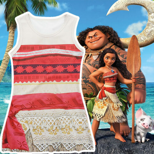 Princess Moana Costume Kids Girls Dress Fancy Cosplay Party Dress Up Clothes Set