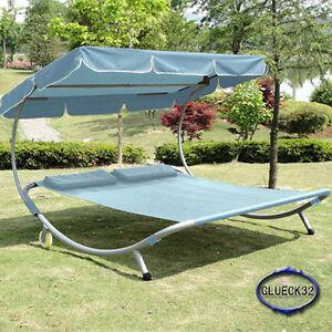 doppelliege gartenliege sonnenliege relax liege f r 2 personen g bb blau ebay. Black Bedroom Furniture Sets. Home Design Ideas