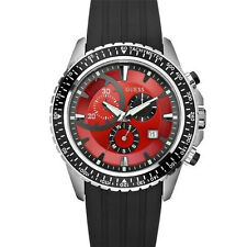New Authentic GUESS Men black silicon Red Multifunction Sport Watch W16545G2 NWT