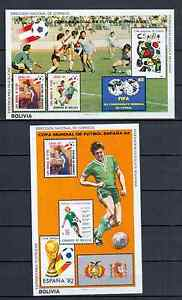 BOLIVIA 2 BLOCKS FOOTBAL 1981 MNH