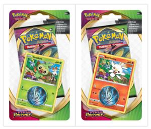 Pokemon TCG Sword /& Shield Vivid Voltage Checklane Blister Set of 2 Grookey Scor