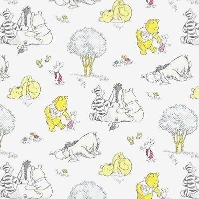 A Milne Winnie The Pooh Bear 100/% Cotton Half Metr Fabric Lemon Badge Disney A
