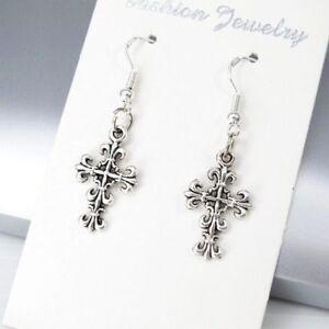 55eb33237 Image is loading Vintage-Silver-Gothic-Irish-Celtic-Cross-Earrings-925-