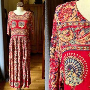 MPH Vintage 90's Boho Beaded RAYON Long Maxi INDIA Dress LARGE