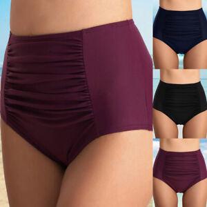 Femme-Maillot-de-Bain-Taille-Haute-Couleur-Unie-Ruche-Bas-de-Bikini-Culottes