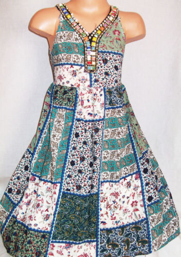GIRLS TEAL MINT FLORAL PATCHWORK PRINT NECKLACE TRIM CALF LENGTH PARTY DRESS