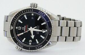 Omega-Seamaster-Planet-Ocean-SS-45mm-automatic-men-039-s-watch-w-ceramic-bezel-amp-B-amp-P