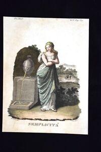 Allegoria-della-Semplicita-Incisione-colorata-a-mano-del-1820-Mitologia-Pozzoli