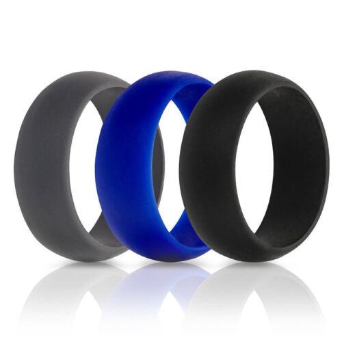 3PCS//Set Men Women Silicone Wedding Ring Rubber Band Active Sport Gym Size 6-12