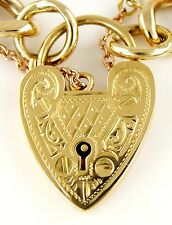 """Heavy 9ct Solid Gold Charm Bracelet with 18ct Heart Padlock (7.75"""") Curb Chain"""