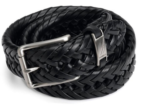 NEW NAUTICA HAND LACED BLACK BRAIDED BELT 11NU04X003 001 32MM SILVER BUCKLE SAVE