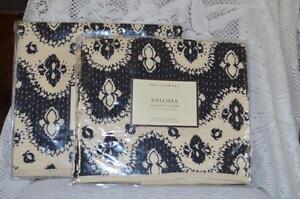 Pottery Barn Paloma 2 Quilt Euro Shams Black Ivory New