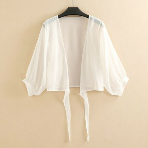 Lady Chiffon Cardigans Jacket Sheer Shrug Bolero Capes Puff Sleeve Capelet Short
