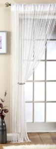 "Beaded White String Curtain Panel / Room Divider 90cm x 229cm (36"" x 90"")"