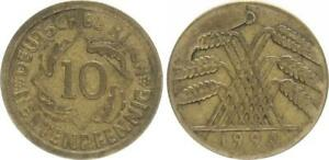 Weimar 10 Pension Penny Lack Coinage 1924 D, Stempelausbruch on The Rear VF