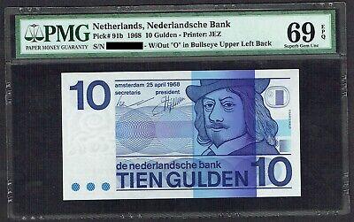 Netherlands 1968 10 Gulden P-91b PMG Superb Gem Unc 67 EPQ