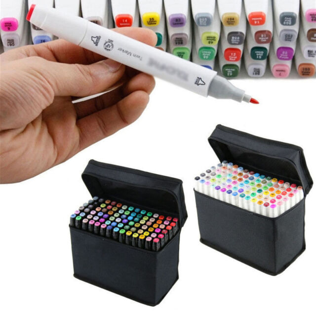 80 Color SET Touch Alcohol Graphic Art Twin Tip Pen Marker Broad Fine Point