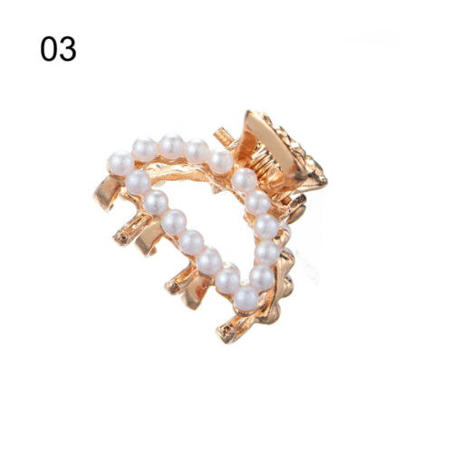 Mini Crab Claw Clip Rhinestone Flower Pearl Hair Claw Clips Ladies Barrettes