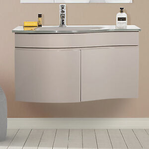 Mobile bagno sospeso 80cm design moderno stondato con lavabo in vetro promozione ebay - Mobile bagno stondato ...