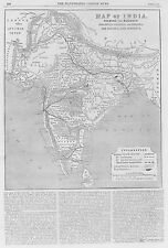 OLD ANTIQUE MAP INDIA SRI LANKA RAILWAYS COTTON COAL DISTRICTS c1865 by DOWER