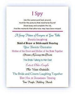 20 i spy wedding bridal camera cards a fun new reception game ebay