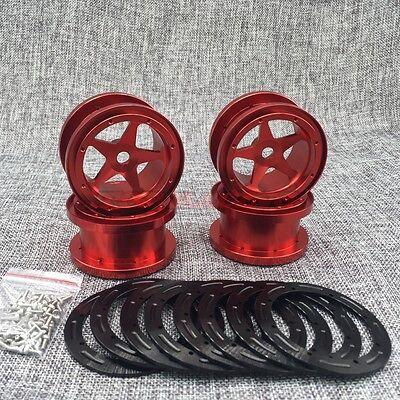 "RED For Rock Truck 4 AXIAL WRAITH Full Aluminum Beadlock 5-Star 2.2/"" Wheel Rim"