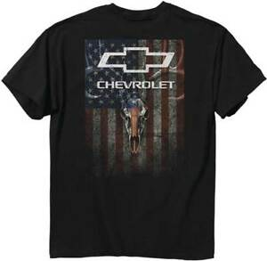 Chevy-Mens-Graphic-Tee-Skulls-and-Stripes-Chevrolet-Black-T-shirt-Adult-Size