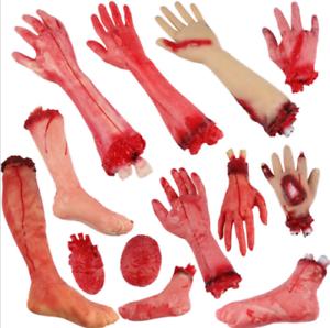 Walking-Dead-Skeleton-Halloween-Bloody-Hands-Zombie-Skinned-Arm-Prop-Body-Parts