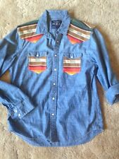 Serape American Eagle pearl snap shirt made to match Holy cow couture moc L