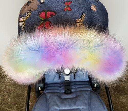New Pram Fur Hood Trim Faux Furs Super Soft Luxury Pastel Multi Colours