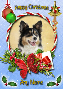 Christmas Card Border.Details About Personalised Dog Christmas Card Bernese Bichon Frise Bloodhound Border Collie