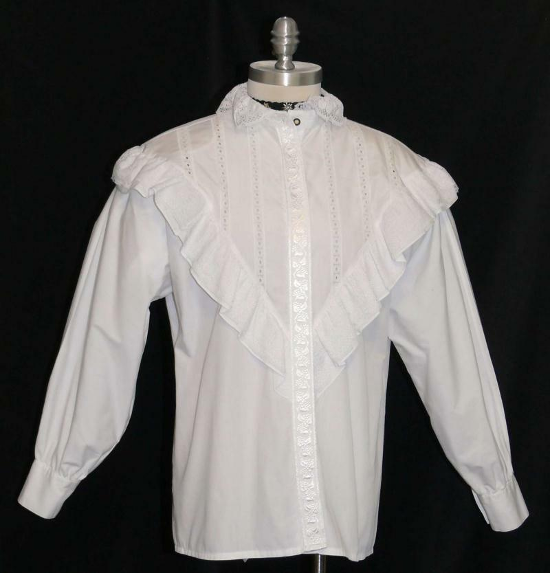 Weiß  LACE German damen RUFFLE Dress Skirt Suit Western BLOUSE Top B 43  16 L