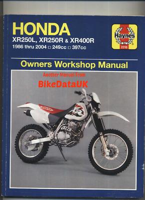 Genuine Haynes Workshop Manual 2219 Honda XR250 R XR400 1986-2003