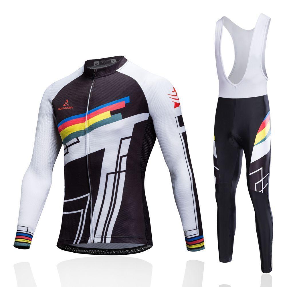 Men's  Padded Cycle Long Bib Pants Tight and Long Sleeve Jersey Cycling Kit S-5XL  enjoying your shopping