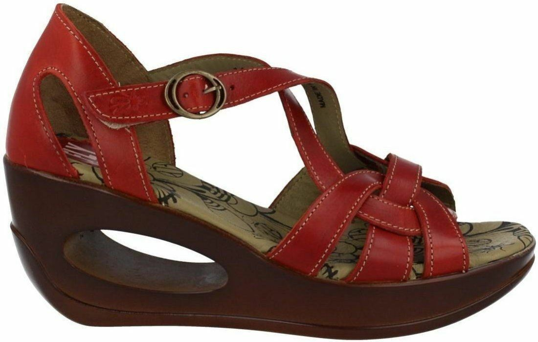 Fly london Hauk 627 Fly ROT Schuhes Leder Damenschuhe Wedge Sandales Schuhes ROT SIZE 8 9c7c87