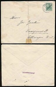 JERUSALEM GERMAN POST OFFICE 5c on 5pf STATIONERY ENVELOPE..JERSCHAWER HANDSTAMP