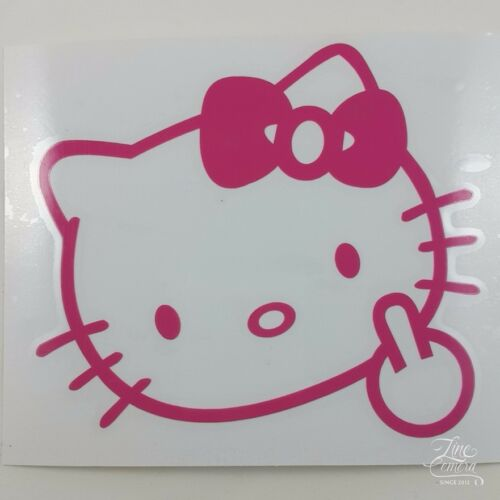 """HELLO KITTY MIDDLE FINGER FLIP OFF CAR DECAL STICKER VINYL VEHICLE 5/""""x4.5/"""""""