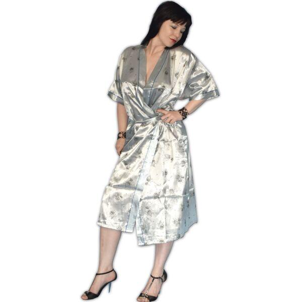 seidig glänzend MORGENMANTEL silber* von M – L * Negligee Pyjama zum binden