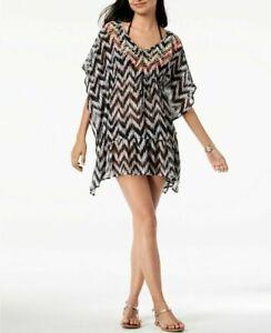 Miken-white-black-ruffle-chevron-tunic-cover-up-dress-size-S-juniors-AR37